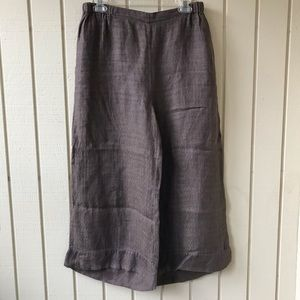 Flax Wide Leg Cropped Pull On Linen Pants